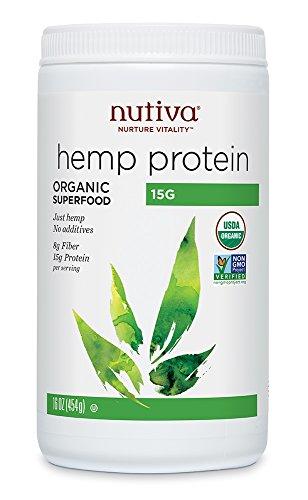 Nutiva Boisson protéinée en poudre Hemp Protein + Fiber - A base de chanvre bio - 43% de fibres alimentaires par portion - 473 ml