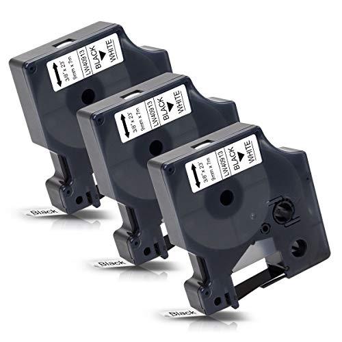 Labelwell LabelWriter 450 400 Etiketten Ersatz DYMO D1 40913 S0720680 9mm x 7m Schwarz auf Weiß Schriftband für Dymo LabelManager 160 280 210D PNP 420P 260P 360D 500TS MobileLabeler Etikettierdrucker