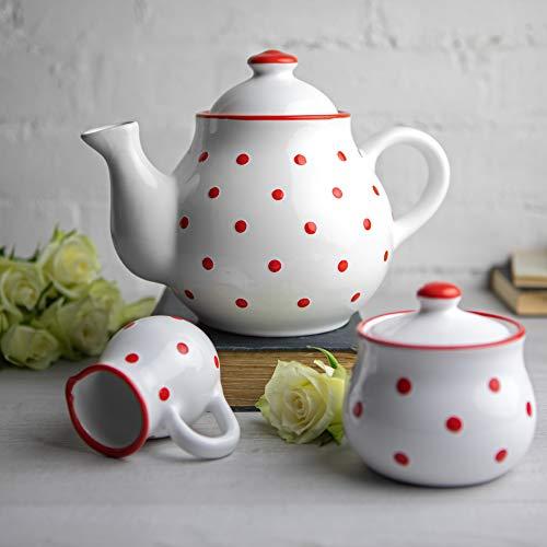 City to Cottage | Service à thé | Blanc à Pois Rouges en céramique Fait et Peint à la Main | Grande théière 1,7L 4-6 Tasses, Pot à Lait, sucrier