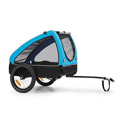 Klarfit Husky Remolque para perros - volumen aprox. 250 litros, material: 600D Oxford Canvas, SmartSpace Concept, carga máxima: 45 kg, bastidor de acero con recubrimiento de polvo, color: azul