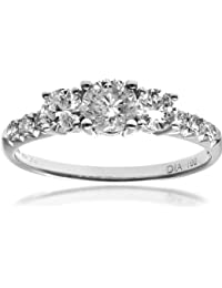 Naava Round Brilliant IJ/I Certified Diamonds 18 ct White Gold Trilogy Engagement Ring