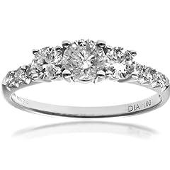 Idea Regalo - Naava Anello da Donna in Oro Bianco 18K con Diamante, Misura 10