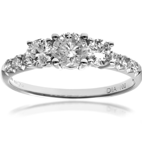 Revoni - 18ct White Gold 1ct Certified Diamonds Trilogy Engagement Ring
