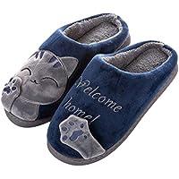 BESTOYARD Zapatillas de algodón de Felpa Invierno Cálido Antideslizante Patrón de Gato Zapatillas Pareja Zapatos en casa