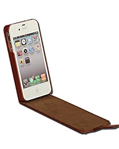 PREMIUM Cuir Veritable iPhone 4 flip cover housse etui Pour Apple iPhone 4 4G 4S,couleur Marron