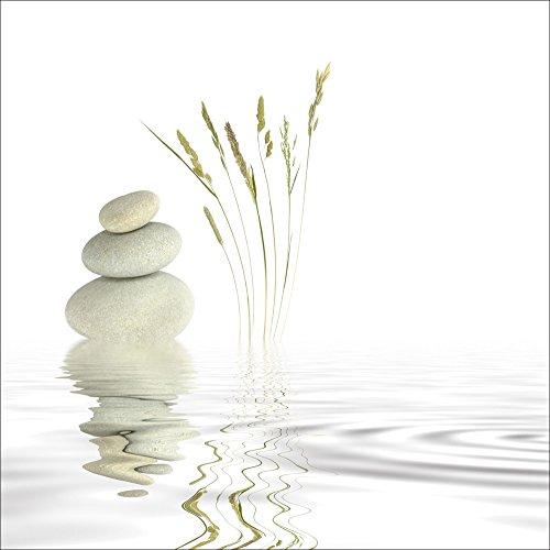 Zen-bad (Artland Qualitätsbilder I Wandtattoo Wandsticker Wandaufkleber 100 x 100 cm Wellness Zen Stein Foto Weiß A6GT Zen Friede)