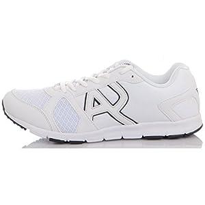 41RhAXh0 cL. SS300  - Armani Jeans Runner Monochrome Mesh White Trainer