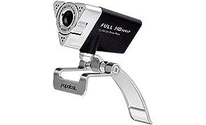 Webcam 1080P FHD, PAPALOOK PA187 Webcams con Microfono y Conector USB 2.0, Web Cam para Skype, MSN, Yahoo, AOL Instant Messenger, Facebook, Webcam Compatible con Windows XP / 7 / 8 / 10