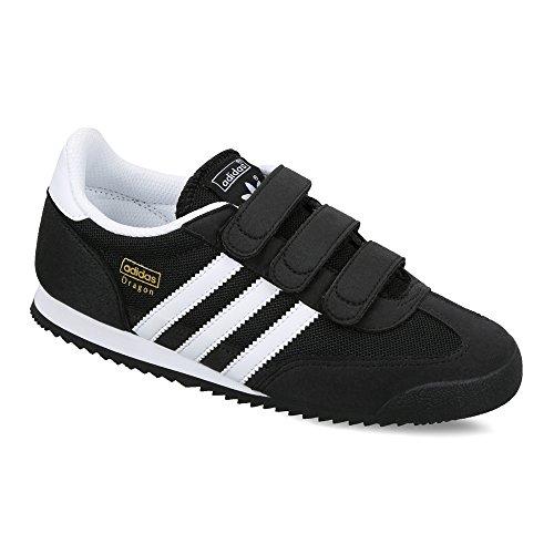 adidas Dragon - Scarpe da Ginnastica Basse Unisex - Bambini, Nero (Core Black/Ftwr White/Core Black), 34 EU