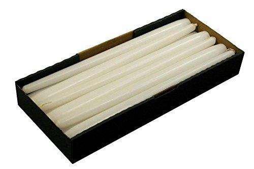 Schlanke & Stabile Spitzkerzen - Weiß - Länge 30cm/Ø 2,3cm - 12 Stück im Pack - Hohe Brenndauer (10 Stunden) & Einwandfreies Brennverhalten - Altarkerzen/Leuchterkerzen