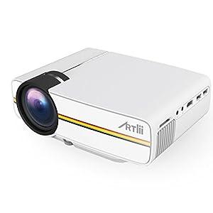 Artlii Vivi Vidéoprojecteur Projecteur Portable LED LCD Mini maison 1080p HD Cinéma Maison théâtre Projecteur support USB/SD/AV/HDMI pour TV / film / jeu / Art Camping Pocket projecteur Interface Blanc