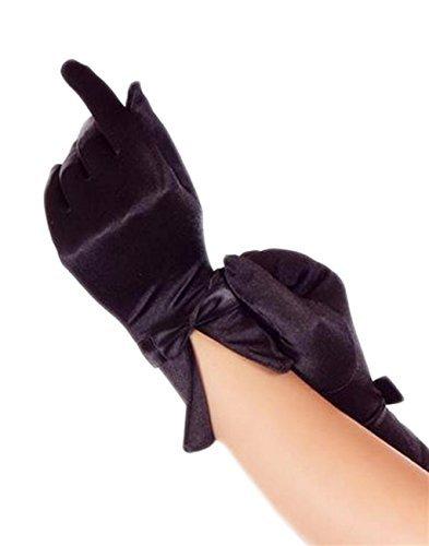 (Handschuhe kurz Satin für Braut Hochzeit Abendmode Gala Gothic super Passform, Grösse Accessoire:Einheitsgrösse;Farbe:Schwarz)
