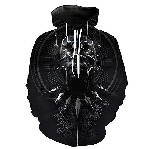 DTYTX 3D HD Unisex Hoodie Print Sweatshirts Mantel Tops Pullover Cosplay Langarm Sportbekleidung Black Panther XXXL -