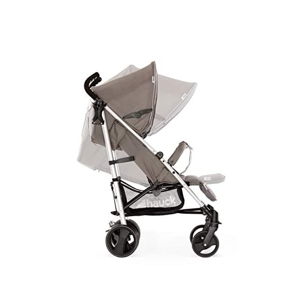 Hauck Vegas, Lightweight Pushchair with Lying Position, from Birth to 25 kg, Buggy with Cup Holder, Umbrella Fold Pushchair, Charcoal Hauck Easy folding - this comfort stroller can be folded away extra flatly making it suitable for almost any car boot; the buggy on travels and family trips Long use - this modern pushchair can be used for a long period of time: It is suitable From birth up to 25 kg Comfortable - with backrest and footrest adjustable into lying position, extendable hood with UV protection, soft padding, suspension, swivelling front wheels and ergonomically shaped push handles 3