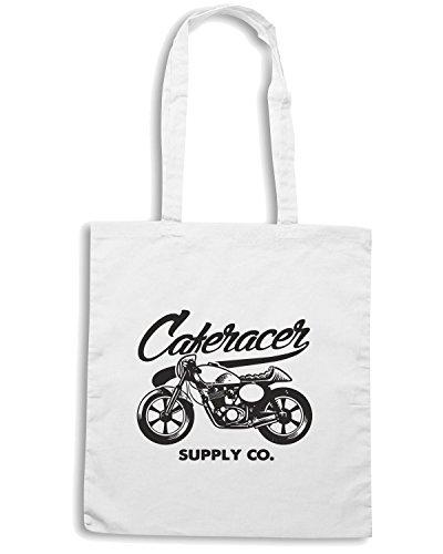 T-Shirtshock - Borsa Shopping TB0234 caferacer style motorcycle Bianco