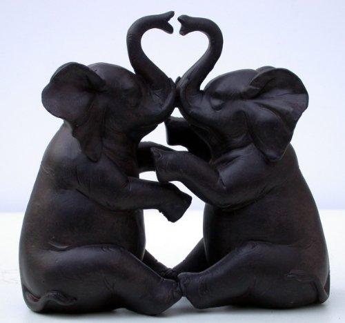 2 x de peluche, diseño de elefantes-par de, con aspecto de madera,...