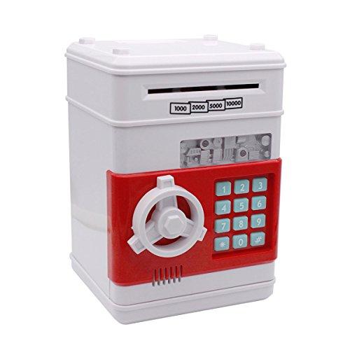 Huchas, Netspower Hucha Dinero Bancos, Electrónica Digital Mini ATM Ahorro de Bancos, Cajas de Ahorro de la Moneda, Juguetes de los Regalos para Niños con Sonido - Blanco