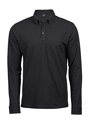 Tee Jays TJ1412 Fashion Herren Luxury Stretch Polo Poloshirt Langarm, Größe:XL, Farbe:Black