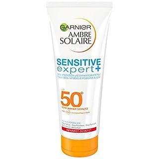 Garnier Ambre Solaire Sensitive expert+ Milch LSF 50+, Sonnenschutz mit Hohem Schutz für Strand, Sonnencreme 50, 200 ml