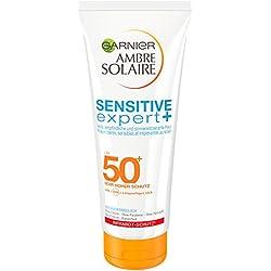 Garnier Ambre Solaire Sensitive expert+ Milch, mit LSF 50+, hoher Schutz vor UVA-/UVB- und Infrarot-Strahlung, für empfindliche Haut, 200 ml