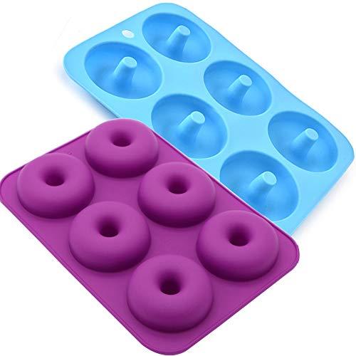 Staruby 2 pezzi stampo ciambelle donuts silicone 6-cavità per forno, torta, biscotti, non-tossico, senza bpa - blu & porpora