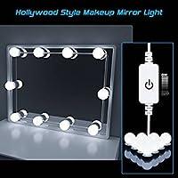Luces de Espejo de Tocador, HogarTech Lámpara de Espejo Regulable 10 Bombillas LED Kit De Luces Para Maquillaje Cosmético, Accesorios de Iluminación de Bricolaje (Espejo No Incluido)