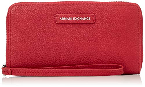 ARMANI EXCHANGE Fabric Round Zip - Borsette da polso Donna, Rosso (Royal Red), 11x2x20 cm (B x H T)