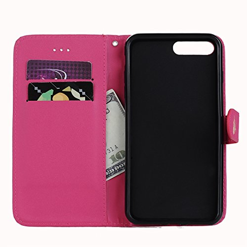 E-Lush Premium PU Leder Laserschneiden Schmetterling Muster Tasche für Apple iPhone 7/7S Plus (5,5 zoll) Einfach Einfarbig Muster Klapphülle 360 Full Body Protection Flip Case Wallet Cover Weiche Flex Rosa