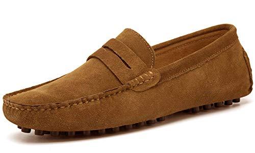 Jinbeile uomo pelle nubuk penny estivi mocassini suede basse guida barche scarpe c/suolo giallo-43