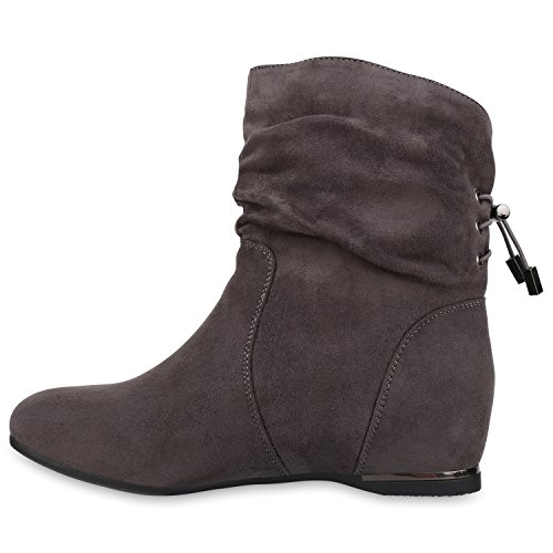 Senhoras Cunhas Letten Ankle Wedge Metálico Boots Cinza Profundas Alinhadas qTqSFwza