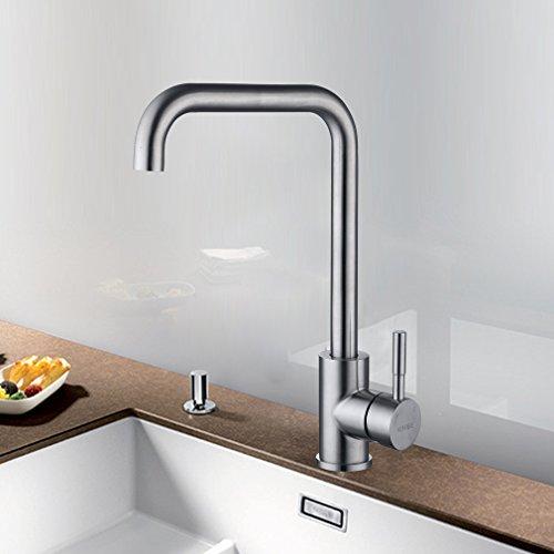 KINSE Edelstahl Niederdruck Wasserhahn für Küche | Niederdruck Küchenarmatur mit 360° Schwenkbarer Mischbatterie Wasserhahnarmatur für Küche Waschbecken