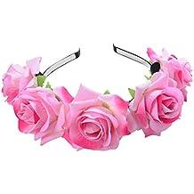 05c4755da6b8c1 FORLADY Rose Blume Ring Hoop Beach Holiday Shooting Zubehör Blumen  Blumenstirnband Crown Garland - Einstellbare Blumenkranz