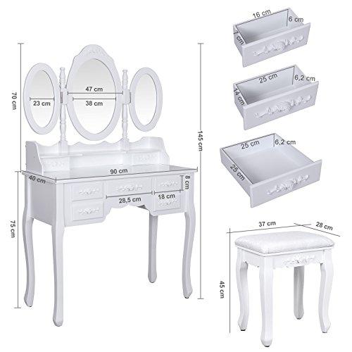 Songmics weiß luxuriös Kippsicherung Schminktisch mit 3 spiegel und hocker, 7 schubladen inkl. 2 Stück Unterteiler, Kippsicherung, 145 x 90 x 40 cm RDT91W - 5