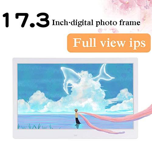YP Digitaler Bilderrahmen 17.3 Zoll, 1920×1080 Hohe AuflösungElektronischer Bilderrahmen Musik/Video-Player Kalender Wecker automatischer EIN-/Ausschalt mit Fernbedienung,Weiß