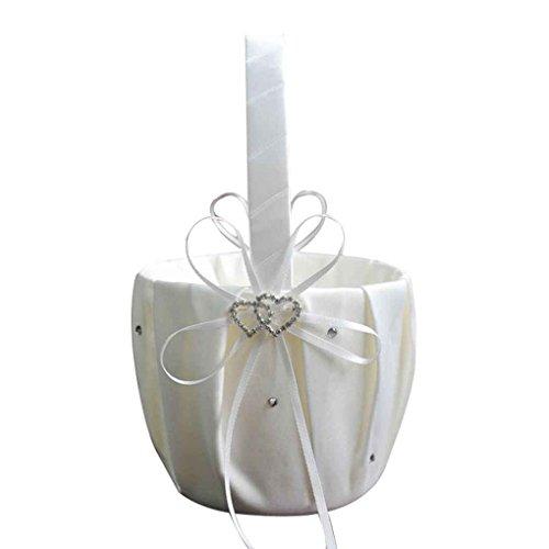 Blumen 2 U (IMHERE W U Remedios Ivory Satin Strass 2 Herzen Hochzeit Blumen-Mädchen-Korb für Hochzeit)