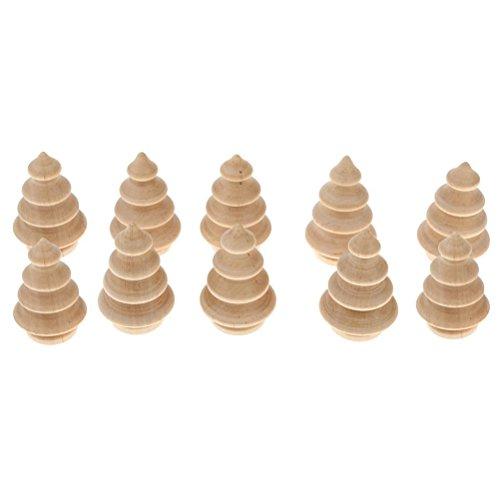 (UEETEK 10pcs DIY Holz Weihnachtsbaum Puppen Handwerk Party liefert Tortenaufsätze für Weihnachten Party Dekoration)