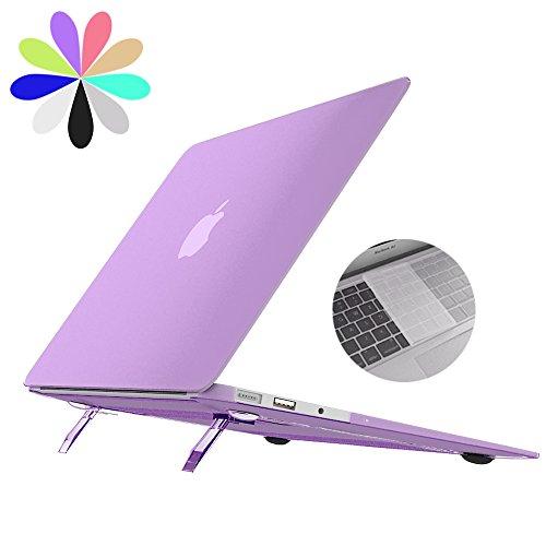 Macbook Air de 13 Caso con el Soporte , Bidear [Cooling Pad Serie] Ordenador Portátil de Plástico Suave Cubierta Mate de Caja y Cubierta Transparente del Teclado para Apple Macbook Air de 13 Pulgadas -Modelo: A1369 / A1466 (Púrpura)