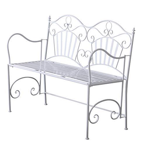 Outsunny 2-Sitzer Sitzbank Gartenbank Metallbank Bank mit Armlehne Romantisch Antik Metall Weiß 111 x 48 x 91 cm
