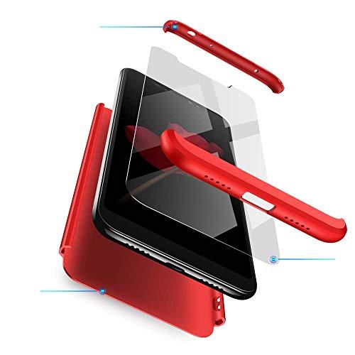 cmdkd Xiaomi Redmi Note 6 Pro Hülle, Hardcase 3 in 1 Handyhülle 360 Grad Hülle Full Cover Case Komplett Schutzhülle Glatte Bumper + Panzerglas für Xiaomi Redmi Note 6 Pro,Rot