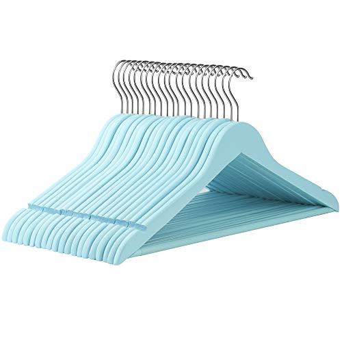 SONGMICS Kleiderbügel aus Massivholz, 20 Stück, Holzbügel mit rutschfestem Hosensteg und Einkerbungen, um 360° drehbarer Haken, für Mäntel, Anzüge, Kleider, Tops, Hosen, Röcke, hellblau CRW001IN20