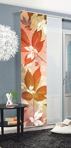 Home Fashion 87182 Harvest - Panel japonés con impresión Digital (con Barra de contrapeso, rieles y sujeciones, 245 x 60 cm), poliéster, Naranja, 245 x 60 cm