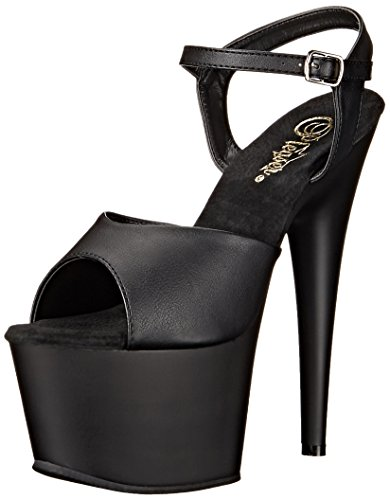 Pleaser Damen ADORE-709 Offene Sandalen, Schwarz Faux Leather/Blk Matte, 38 ()