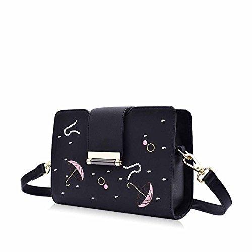 Handtasche Messenger Bag Fashion Schultertasche Bestickt Einfache Kleine Quadratische Tasche,Black Black