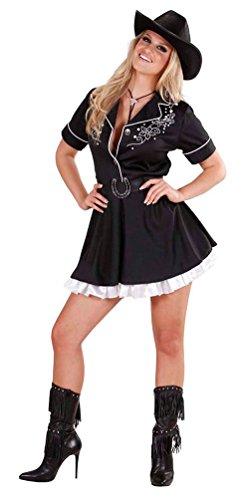 Karneval-Klamotten Cowboy Cowgirl Kostüm Damen Frauen sexy Rodeo Western-Kostüm Kleid schwarz-weiß Größe 38/40