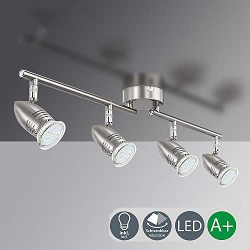 TONBUX LED Deckenstrahler 80cm lange Deckenleuchte mit 4 * 3W GU10 Led Birne Schwenkbar Kopf Strahler Deckenspots Modern Wohnzimmerlampe Warmweiß Licht