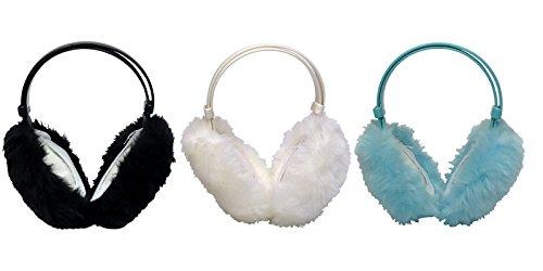 Thinsulate - Kinder mädchen verstellbar cute bunt flauschig ohrenwärmer / ohrenschützer in 4 farben (3 Pack, EM3)