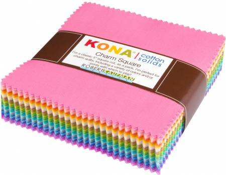 Kona Baumwolle Feststoffe 101-teiliges Stoff Charm Pack chs-562-101 Pastell Patchwork Bundle - 12,7 x 12,7 cm (12,5 cm x 12,5 cm) Quilting Stück (Charms-pack)