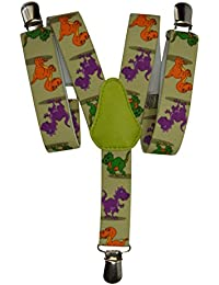 Childrens 1-5 Years Elasticated Clip on Braces / Suspenders with Dinosaur Design