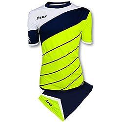 Zeus Kit Lybra Equipaciòn para el Fùtbol y el Voleibol Para Hombre Sport Pegashop Colour Amarillo Fluorescente-Azul-Blanco (L)