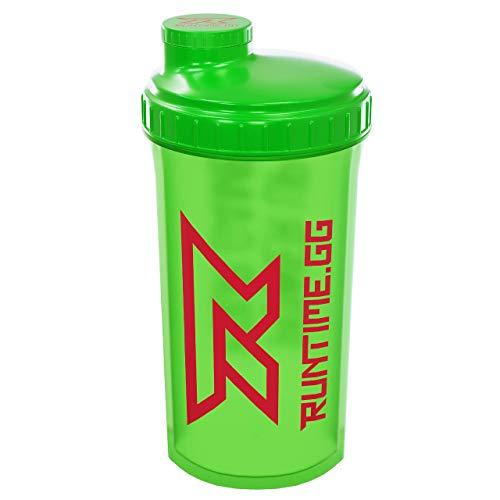 Runtime Eiweiß-Shaker | Sport-Flasche für Nutrition und Fitness | 700ml Fassungsvermögen | mit Sieb - 100% dicht | BPA-frei - inkl. Messskala - transparent (Neon Green) -